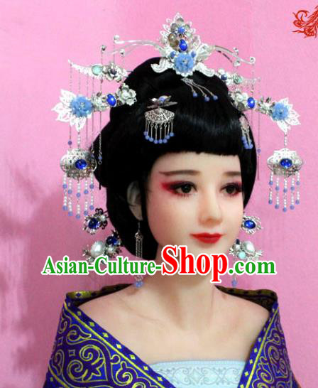 Traditional Chinese Handmade Hair Accessories Ancient Princess Step Shake Hairpins Phoenix Coronet Complete Set for Women