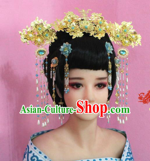 Traditional Chinese Handmade Hair Accessories Ancient Princess Hairpins Beads Tassel Step Shake Phoenix Coronet for Women