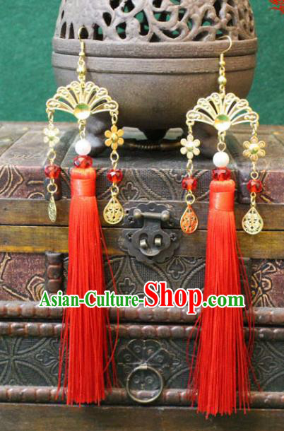 Traditional Chinese Handmade Jewelry Accessories Xiuhe Suit Bride Earrings Hanfu Red Tassel Eardrop for Women