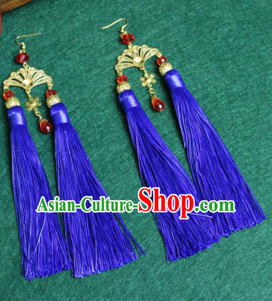 Traditional Chinese Handmade Jewelry Accessories Xiuhe Suit Bride Earrings Hanfu Blue Tassel Eardrop for Women