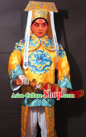 Traditional China Beijing Opera Takefu Costume, Chinese Peking Opera Imperial Bodyguard Embroidered Yellow Gwanbok