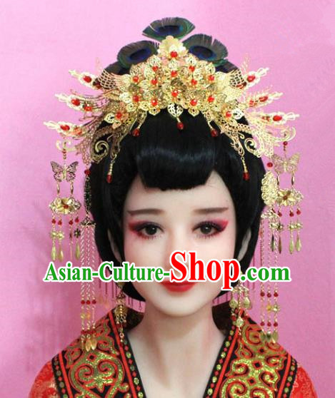 Traditional Chinese Handmade Hair Accessories Ancient Princess Hairpins Golden Tassel Phoenix Coronet Complete Set for Women