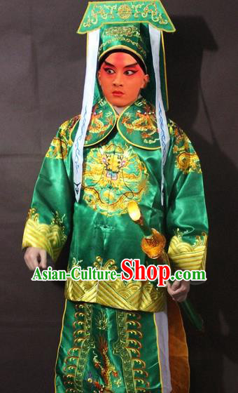 Traditional China Beijing Opera Takefu Costume, Chinese Peking Opera Imperial Bodyguard Embroidered Green Gwanbok