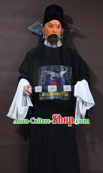 Traditional China Beijing Opera County Magistrate Costume, Chinese Peking Opera Gwanbok Black Embroidered Robe