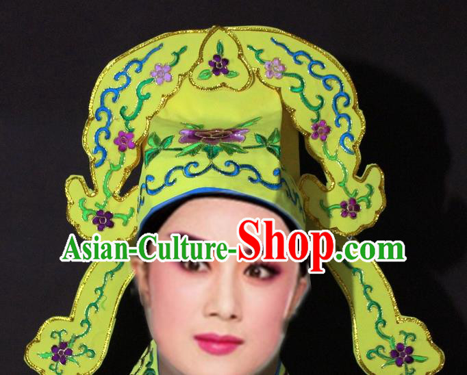 Traditional China Beijing Opera Niche Embroidered Yellow Hats, Chinese Peking Opera Gifted Scholar Headwear