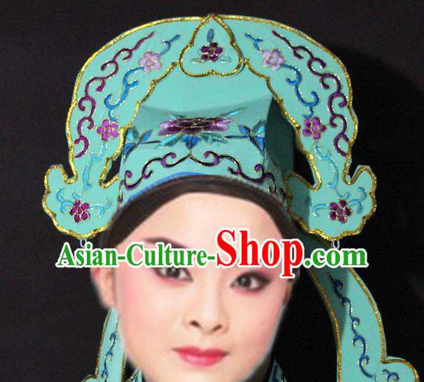Traditional China Beijing Opera Niche Embroidered Green Hats, Chinese Peking Opera Gifted Scholar Headwear