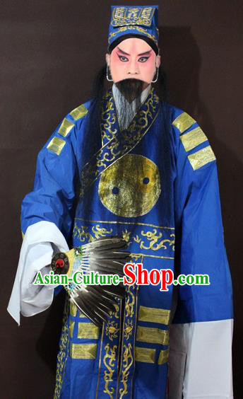 Traditional China Beijing Opera Taoist Costume Blue Embroidered Robe, Chinese Peking Opera Sleep Dragon Embroidery Clothing