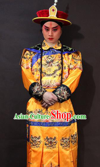 Traditional China Beijing Opera Emperor Costume Embroidered Robe, Chinese Peking Opera Qing Dynasty Majesty Embroidery Clothing