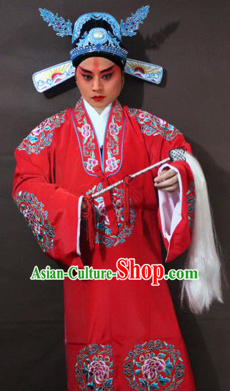 Traditional China Beijing Opera Niche Costume Red Embroidered Robe, Chinese Peking Opera Lang Scholar Embroidery Gwanbok Clothing