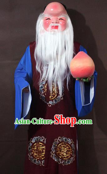 Traditional China Beijing Opera God of Longevity Costume Purplish Red Embroidered Robe, Chinese Peking Opera Immortal Gwanbok Clothing