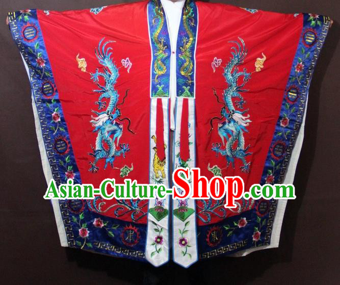 Traditional China Beijing Opera Taoist Priest Embroidery Costume, Chinese Peking Opera Red Embroidered Robe Clothing