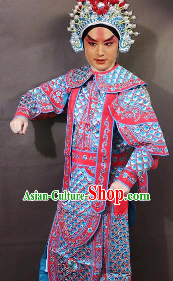 Traditional China Beijing Opera Takefu Embroidered Red Costume, Chinese Peking Opera Warrior Clothing