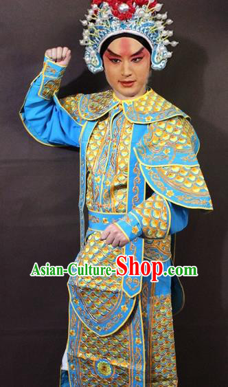 Traditional China Beijing Opera Takefu Embroidered Yellow Costume, Chinese Peking Opera Warrior Clothing
