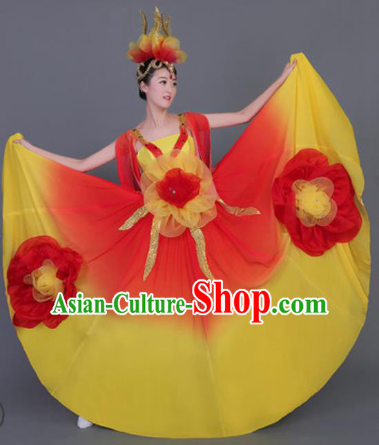 Professional Opening Dance Costume Stage Performance Big Swing Dress for Women