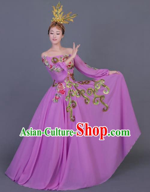 Professional Opening Dance Costume Stage Performance Classical Dance Chorus Purple Dress for Women