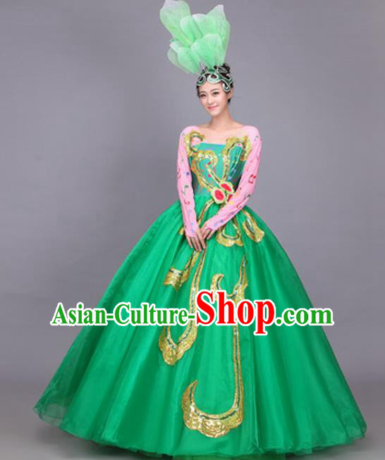 Professional Opening Dance Costume Stage Performance Classical Dance Green Dress for Women