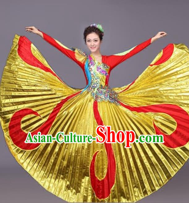 Professional Opening Dance Costume Stage Performance Classical Dance Golden Dress for Women