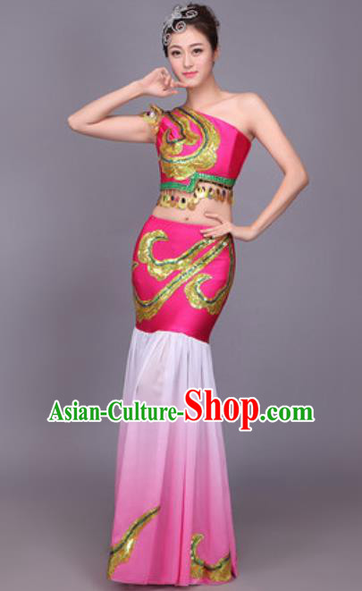 Chinese Traditional Dai Nationality Peacock Dance Costume Pavane Rosy Dress for Women