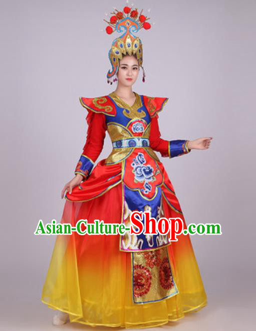 Chinese Traditional Folk Dance Costume Classical Dance Drum Dance Dress for Women