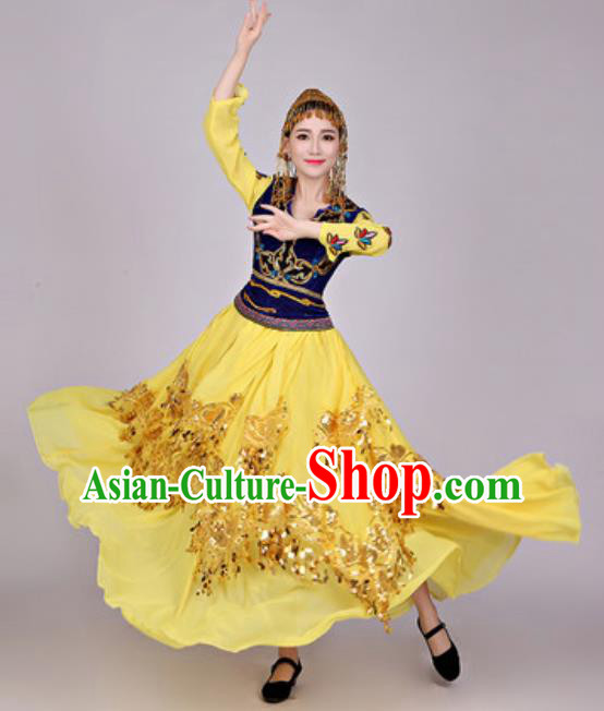 Chinese Traditional Uyghur Nationality Folk Dance Costume Uigurian Minority Yellow Dress for Women