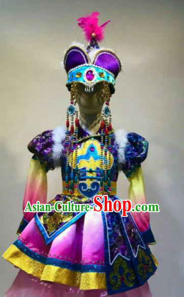 Chinese Traditional Mongol Nationality Dance Costume Mongolian Folk Dance Purple Dress for Women