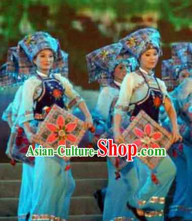 Chinese Traditional Bu Yi Nationality Dance Costume Folk Dance Dress for Women