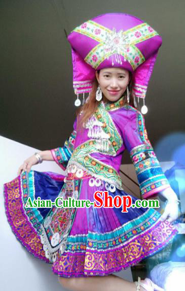 Chinese Traditional Zhuang Nationality Costume Folk Dance Ethnic Purple Dress for Women
