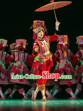 Chinese Traditional Yi Nationality Bride Costume Folk Dance Ethnic Red Clothing for Women