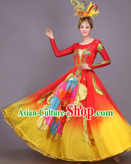 Professional Opening Dance Costume Stage Performance Modern Dance Red Bubble Dress for Women