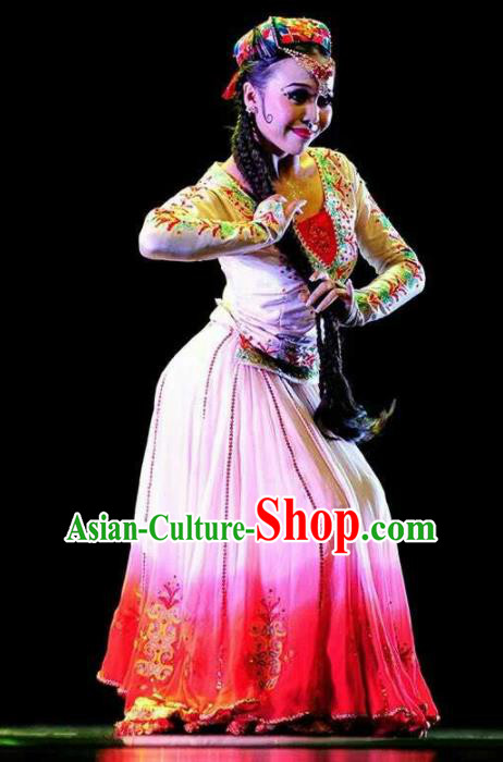 Chinese Traditional Uyghur Nationality Dance Costume Folk Dance Dress for Women
