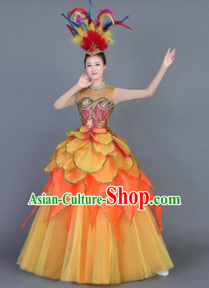 Professional Modern Dance Costume Opening Dance Stage Performance Orange Dress for Women