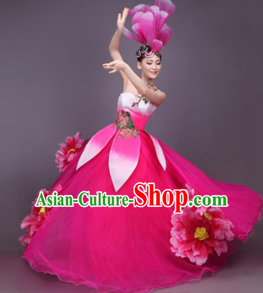 Chinese Traditional Classical Dance Costume Folk Dance Peony Dance Rosy Dress for Women