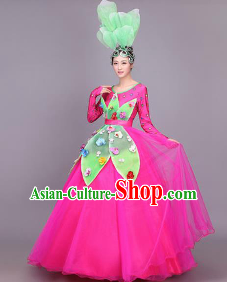 Professional Modern Dance Costume Opening Dance Stage Performance Rosy Veil Dress for Women