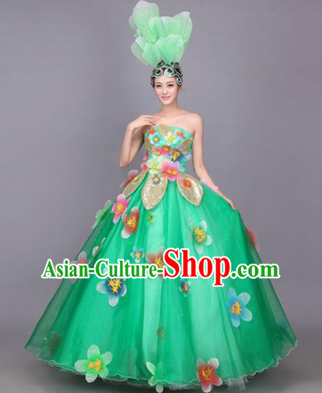 Professional Modern Dance Costume Opening Dance Stage Performance Green Veil Dress for Women