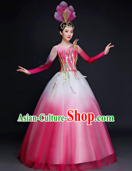 Professional Opening Dance Costume Modern Dance Stage Performance Pink Dress for Women