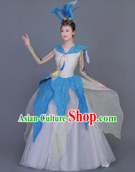 Professional Opening Dance Costume Modern Dance Stage Performance White Dress for Women