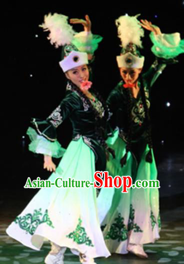 Chinese Traditional Kazak Nationality Costume Uigurian Folk Dance Ethnic Green Dress for Women