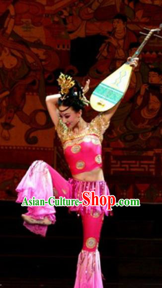 Chinese Traditional Folk Dance Costume Lute Dance Classical Dance Pink Clothing for Women