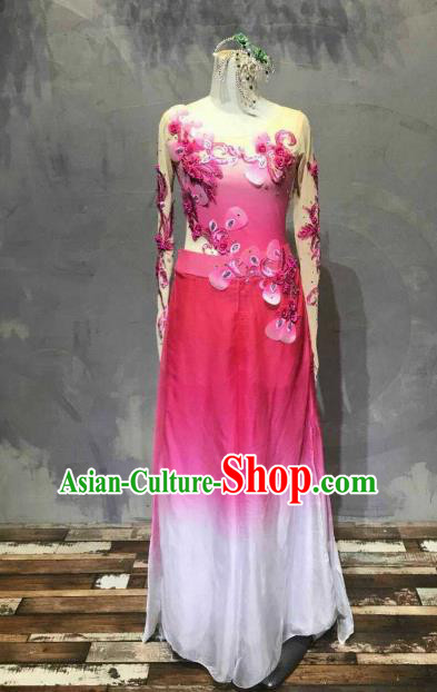 Chinese Traditional Folk Dance Costume Classical Dance Yangko Rosy Dress for Women