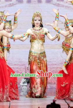 Chinese Traditional Belly Dance Costume Folk Dance Ethnic Clothing for Women