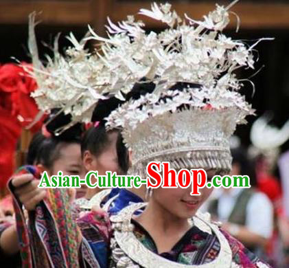 Chinese Traditional Miao Nationality Bride Hat Hmong Headwear for Women