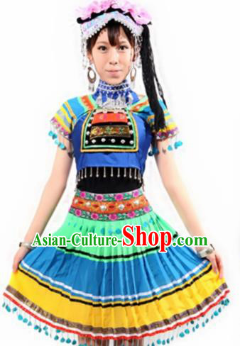 Chinese Traditional Yi Nationality Costume Folk Dance Ethnic Clothing for Women