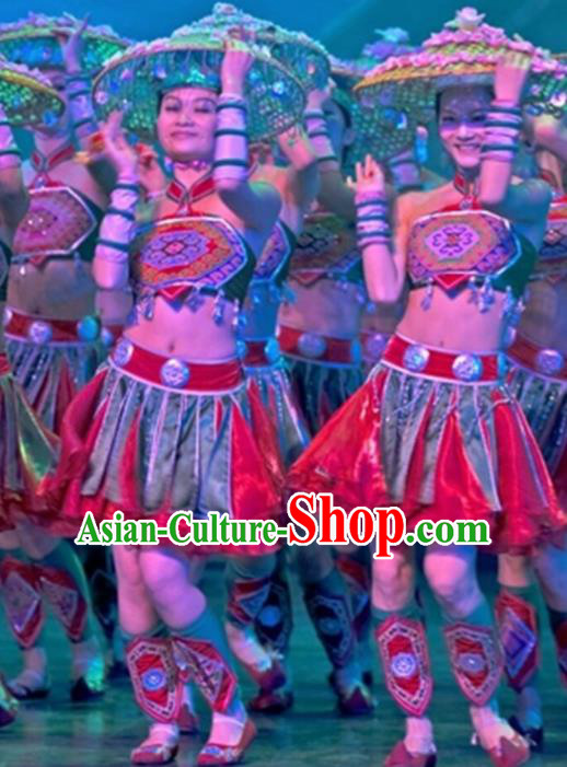 Chinese Traditional Tu Jia Nationality Costume Folk Dance Ethnic Clothing for Women