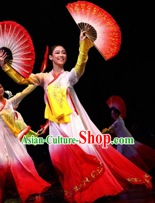 Chinese Traditional Korean Nationality Costume Folk Dance Ethnic Clothing for Women