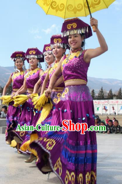 Chinese Traditional Yi Nationality Costume Folk Dance Dress Ethnic Purple Clothing for Women