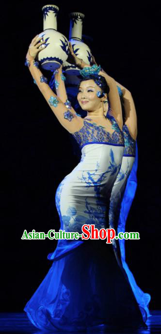 Chinese Traditional Classical Dance Costume Folk Dance Qipao Dress for Women