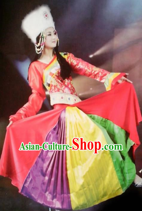Chinese Traditional Zang Nationality Costume Tibetan Folk Dance Red Dress Ethnic Clothing for Women