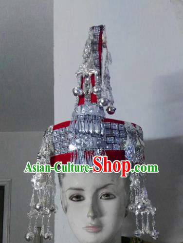 Chinese Traditional She Nationality Hat Hmong Tassel Headwear for Women