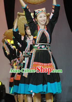 Chinese Traditional Bu Yi Nationality Costume Folk Dance Ethnic Clothing for Women