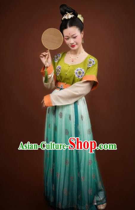 Traditional Chinese Ancient Apsara Costumes Tang Dynasty Princess Hanfu Dress for Women